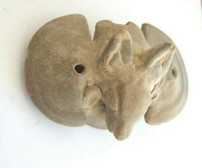 PreColumbian Tairona terracotta whistle Bat form Columbia circa 500 AD