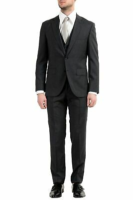 "Hugo Boss ""Jerron/Lenon1WE"" Men's 100% Wool Gray Three-Piece Two Button Suit"