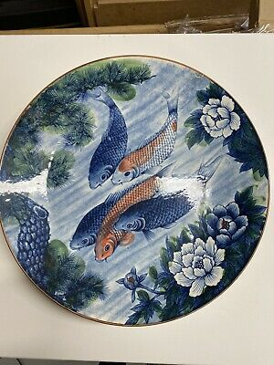 Beautiful Large Painted Chinese Koi Carp Fish Porcelain Plate