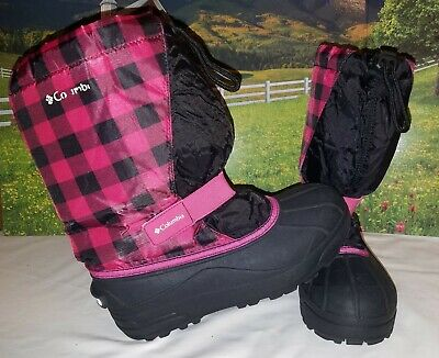 Big Girls Pink and Black Columbia Winter Snow Boots Size 6 GUC Removable Lining
