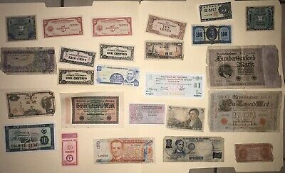 Lot of 25 Vintage Mixed Foreign World Currency Paper Money Collection - Lot #8