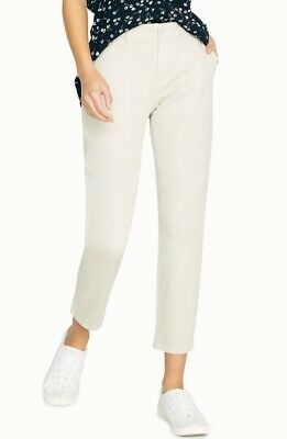 Sanctuary Womens Peace Chino Cropped Pants 33 Cream Beige Flap Pockets Stretch