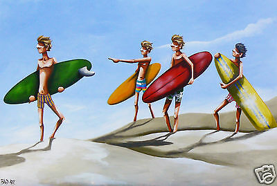 ART  PAINTING  BEACH SURF PRINT ANDY BAKER 2000s australia abstract