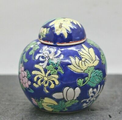 Terrific Antique Chinese Republic Hand Painted Porcelain Ginger Jar c1920s