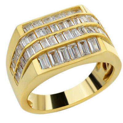 Mens REAL Solid 925 Sterling Silver 14k Gold Finish Iced Baguette CZ Square Ring