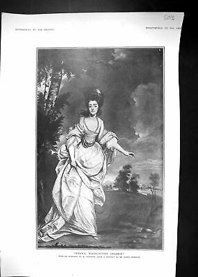 Old Antique Print Portrait Diana Viscountess Crosbie Beautiful Lady Reyns