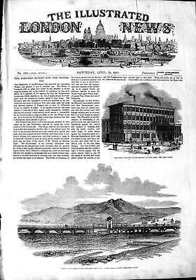 Old Antique Print 1851 Cast-Iron House New York Bridgewater Bridge Hobart 19th