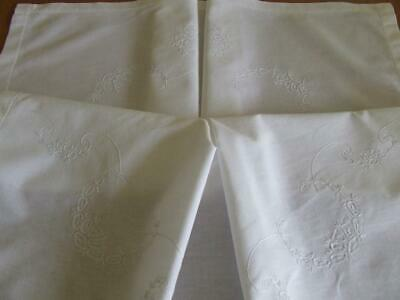 Hand Embroidered White on White Vintage Tablecloth -Simple Little Floral Pattern