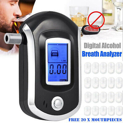 AU_ AT6000 Digital LCD Breath Alcohol Tester Meter Breathalyzers with 20 Mouthpi