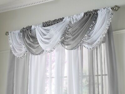 Jewelled Swag Sparkle Crystal Glitter Voile Net Pelmet Swags Curtains Silver New