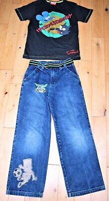 The Simpsons Jeans Bart Trousers & The Itchy Scratchy T-Shirt Age 9-10yr