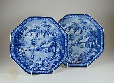 A Pair Of Antique Early 19Th Century Brameld Pearlware Octagonal Plates
