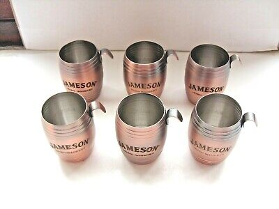6xjameson irish whiskey drinks shot  measure coppered finish in VGC