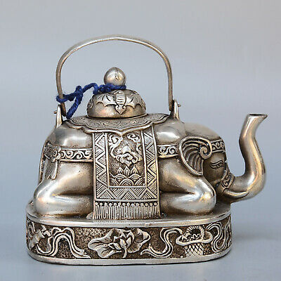 Collect China Old Miao Silver Hand-Carved Lovely Elephant Delicate Noble Tea Pot