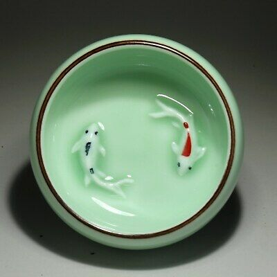 Collectable China Colorful Porcelain Glaze Reliefs Delicate Double Fish Tea Bowl