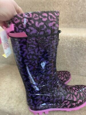 Girls Funky Animal Leopard Spot Pink Purple Long Wellie Boots BNWT Bow UK 1 (33)
