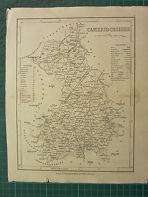 c1835 ANTIQUE COUNTY MAP ~ CAMBRIDGESHIRE ~ ELY WOODS SEATS & PARKS CANALS ROADS