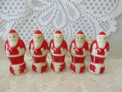 """Lot Of 5 Vintage Celluloid 3 1/4"""" Standing Santas'  W/ Cane & Gift Irwin Usa"""