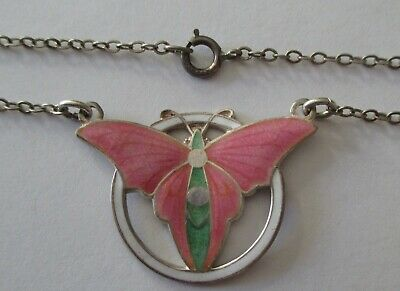 Vtg Art Deco Sterling Silver Pink Green Enamel Butterfly Chain Necklace