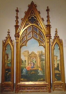Like Antique FRENCH ICON BIRTH OF JESUS PAINTING . HUGE TRIPTYCH 3 panels
