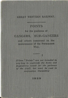 GWR Great Western Railway Booklet on Points for Gangers 1929