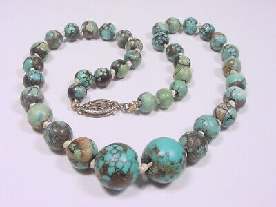 """Antique Chinese Turquoise Knotted Graduated Bead Necklace~Sterling Clasp~13.5"""" L"""