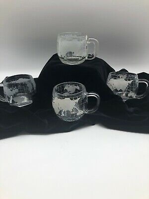 4 Vintage Nestle Nescafe Etched Clear Glass World Globe Coffee Mugs Coffee Cups