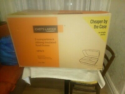 Chef's Larder 100 3 Compartment Oblong Insulated Food Boxes
