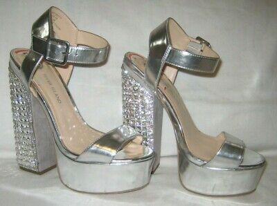 River Island silver party-Christmas high heel shoes size 5