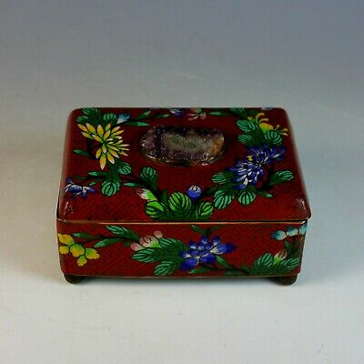 Old Chinese Cloisonne Hinged Box with Unusual Inset Semi-precious Stone