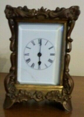 Antique 1891 Waterbury Brass Ornate Carriage Clock Beveled Glass Porcelain Face