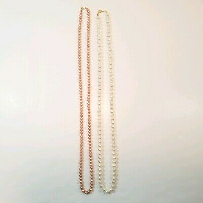 Pair Faux Pearl Necklaces Pink White Opera Length Lot Fashion -J1(PLD)
