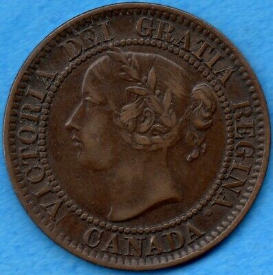 Canada 1858 1 Cent One Large Cent Coin - First Year - EF