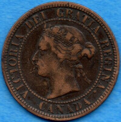 Canada 1881 H 1 Cent One Large Cent Coin - Very Fine