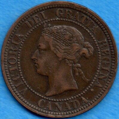 Canada 1881 H 1 Cent One Large Cent Coin - EF