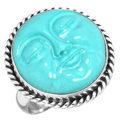 Turquoise Face Collectible Jewelry Solid 925 Sterling Silver Ring Size 6 OY59784