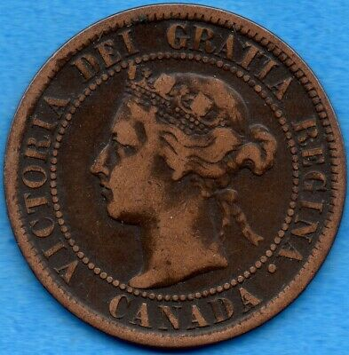 Canada 1894 1 Cent One Large Cent Coin - Fine
