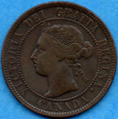 Canada 1898 H 1 Cent One Large Cent Coin - Fine