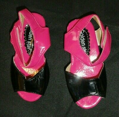 Little Girls Sandals Size 6 Uk Black Pink Patent New By Golden Star (16)
