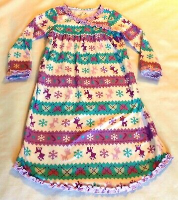 Girls Purple/Blue/White Snowflake/Reindeer/Hearts Jumping Beans Nightgown size 4