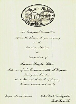 DOUGLAS WILDER~1st BLACK GOVERNOR SINCE RECONSTRUCTION-INAUGURATION INVITITATION