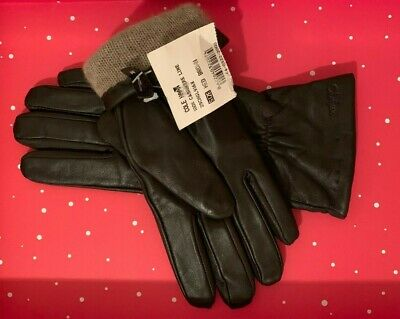 Cole Haan Bbrown Leather Driving Gloves, Cashmere Lining, Womens medium