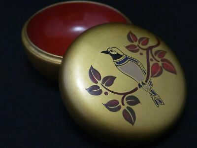 Japanese Lacquer Wooden Tea caddy Bird at the branch makie Hira-Natsume (107)