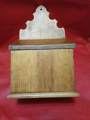 Primitive Pine Wooden Wall Hanging Salt? Box  Early Homestead