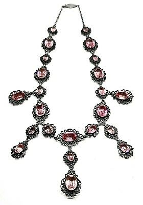 Antique Georgian Sterling Silver Pink Foiled Paste Filigree Necklace Riviere
