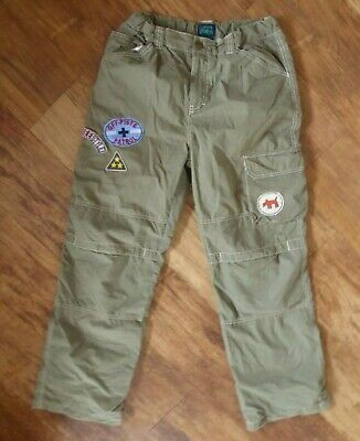 Mini Boden Boy's Khaki Green Warm Fleece Lined Cargo Utility Trousers 13-14 Yrs