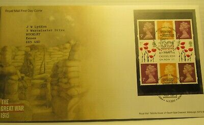 2015 GB Stamps THE GREAT WAR Booklet Pane FIRST DAY COVER TALLENTS HOUSE Cancel