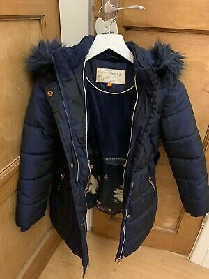 TED BAKER Girls Coat Parka Shower Resistant Fur Hood Age 9 Navy Blue Hooded