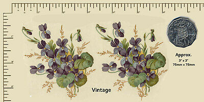 Ceramic decals VIOLETS Purple flowers. Floral. Several sizes. WATERSLIDE PD10