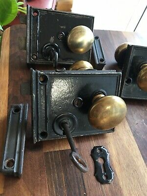Original Victorian Cast Iron Privacy Lock & Brass Door Knobs With Key & Keep